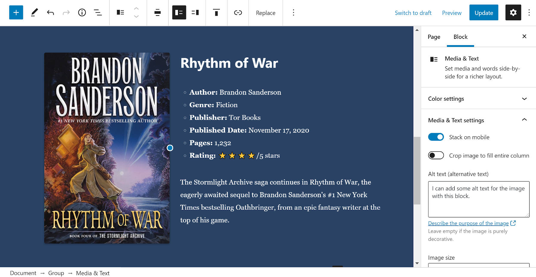 Creating a book review section with the Media & Text block in the editor.
