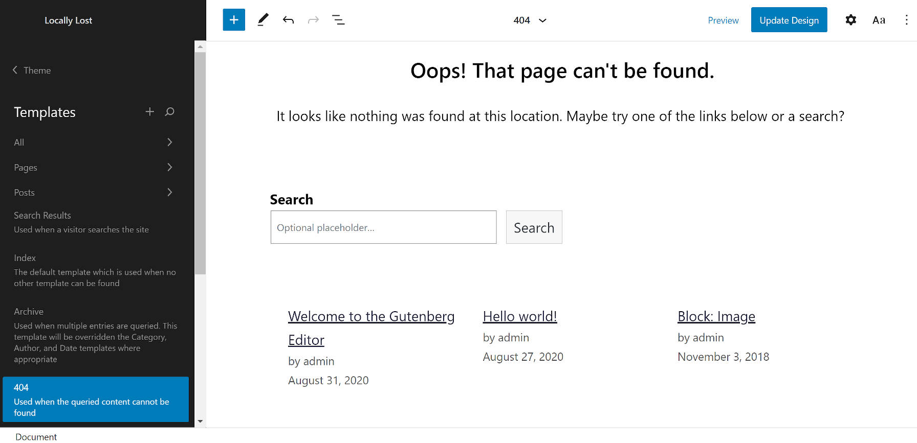 Modelo 404 do editor do site WordPress ao usar o tema Armando.