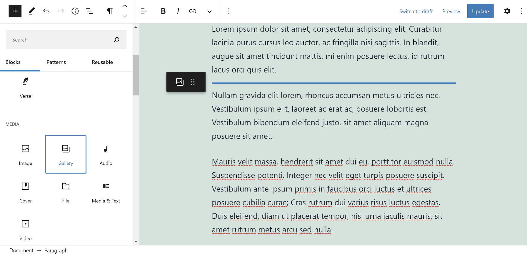 Arrastando um bloco da Galeria para a tela de conteúdo no editor de blocos do WordPress.