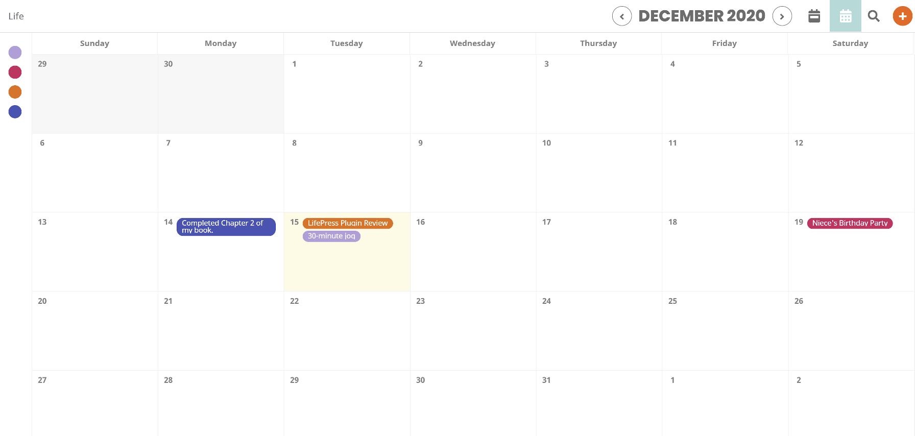 Visualização do calendário mensal do LifePress Dashboard no front end.