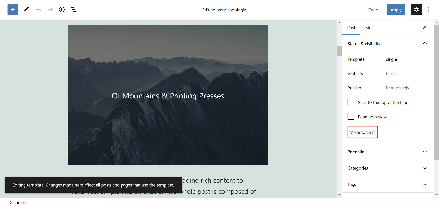 Gutenberg template editing mode from within the post editor.