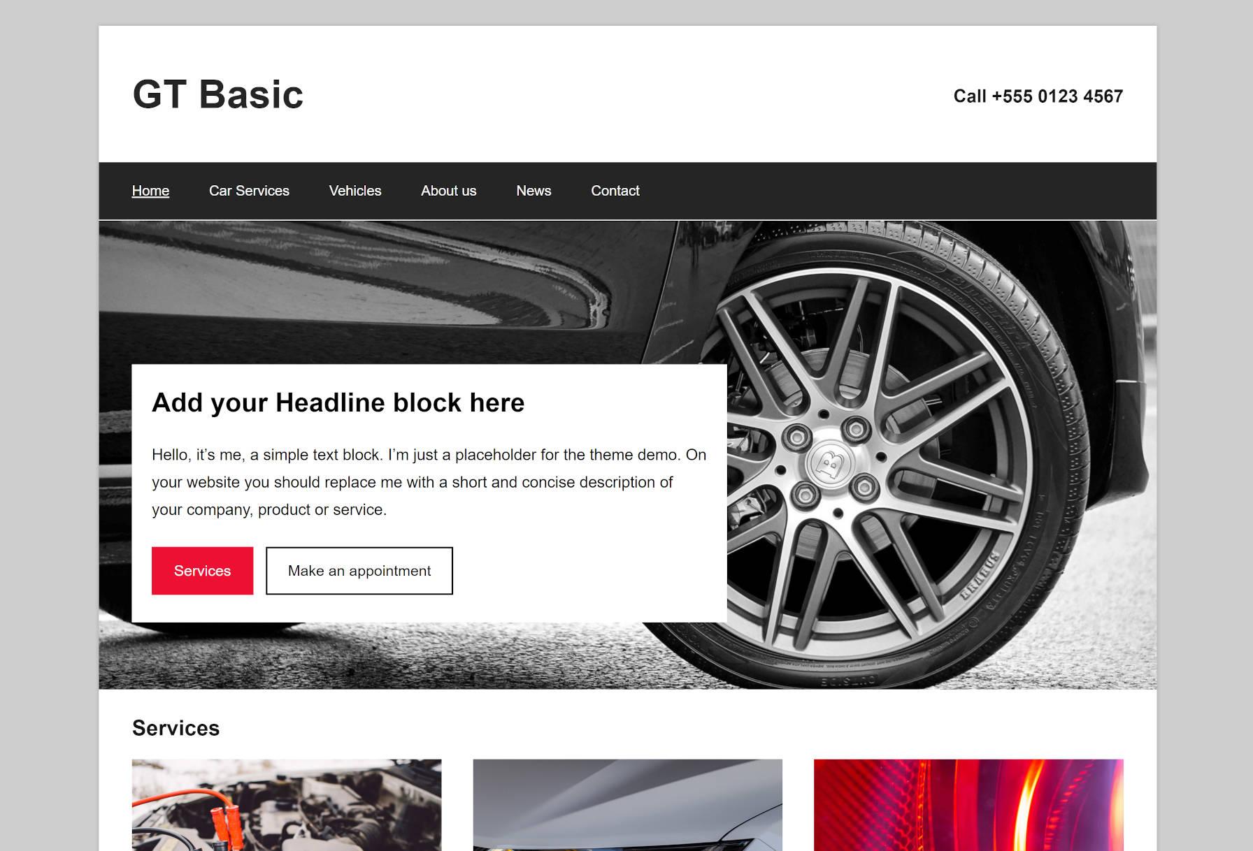 Captura de tela do design da página inicial do tema GT Basic WordPress.