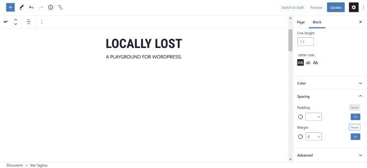 Modification des blocs Titre du site et Slogan dans l'éditeur WordPress.