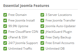 Essential Joomla features in siteground