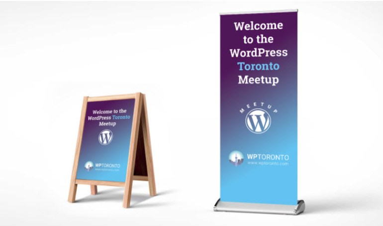 Signs for the WordPress Toronto Meetup Group