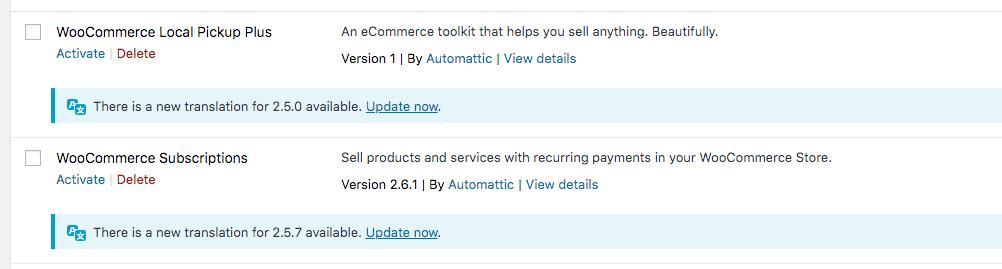 Notifications de mises à jour de traductions d'extensions