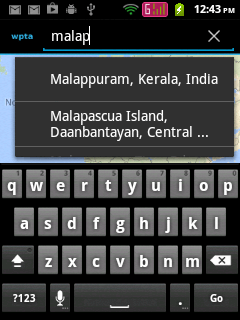 Searching places in SearchView Widget