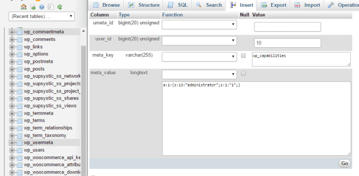 create new administrator account using mysql step 4