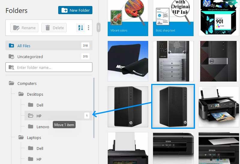 FileBird Media Library Move Items