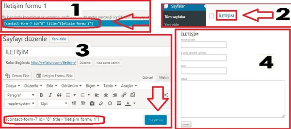 wordpress iletişim formu eklemek