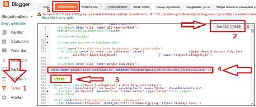 Blogger bloga Search Console etiketi yapıştırmak