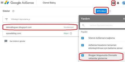 Blogger Google Adsense Reklam
