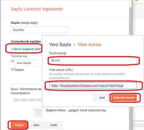 Blogger sayfa listesi