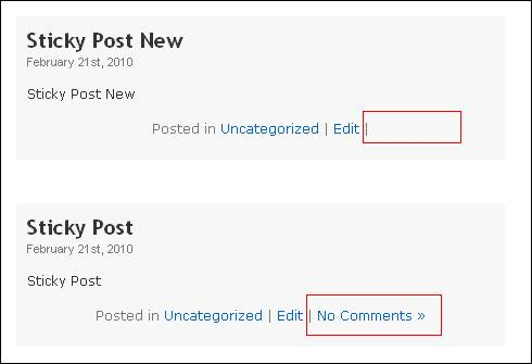 Removed Comment Pop up link