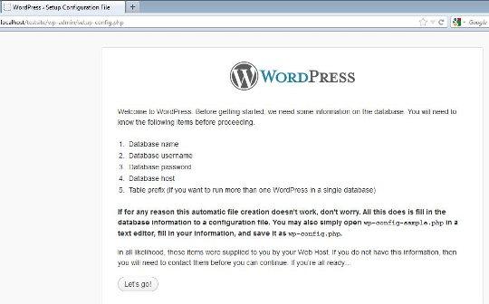 Wordpress setup info