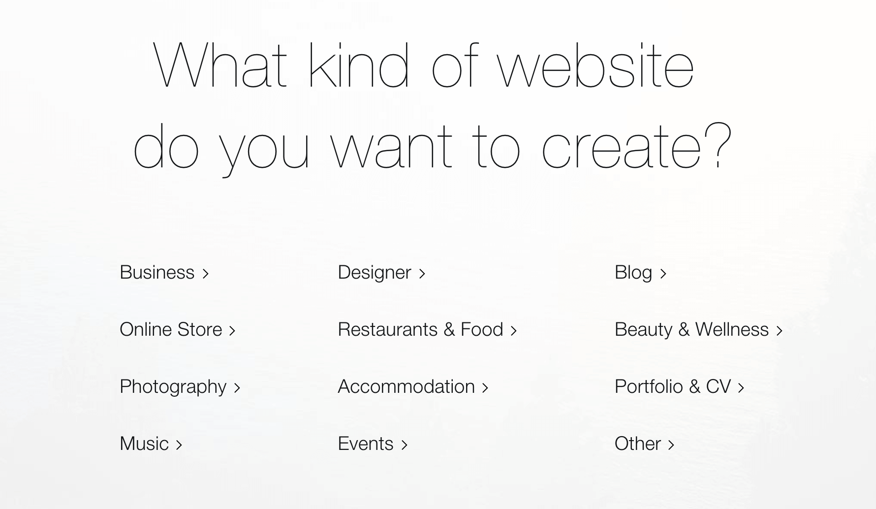 Choosing which type of page to create in Wix.
