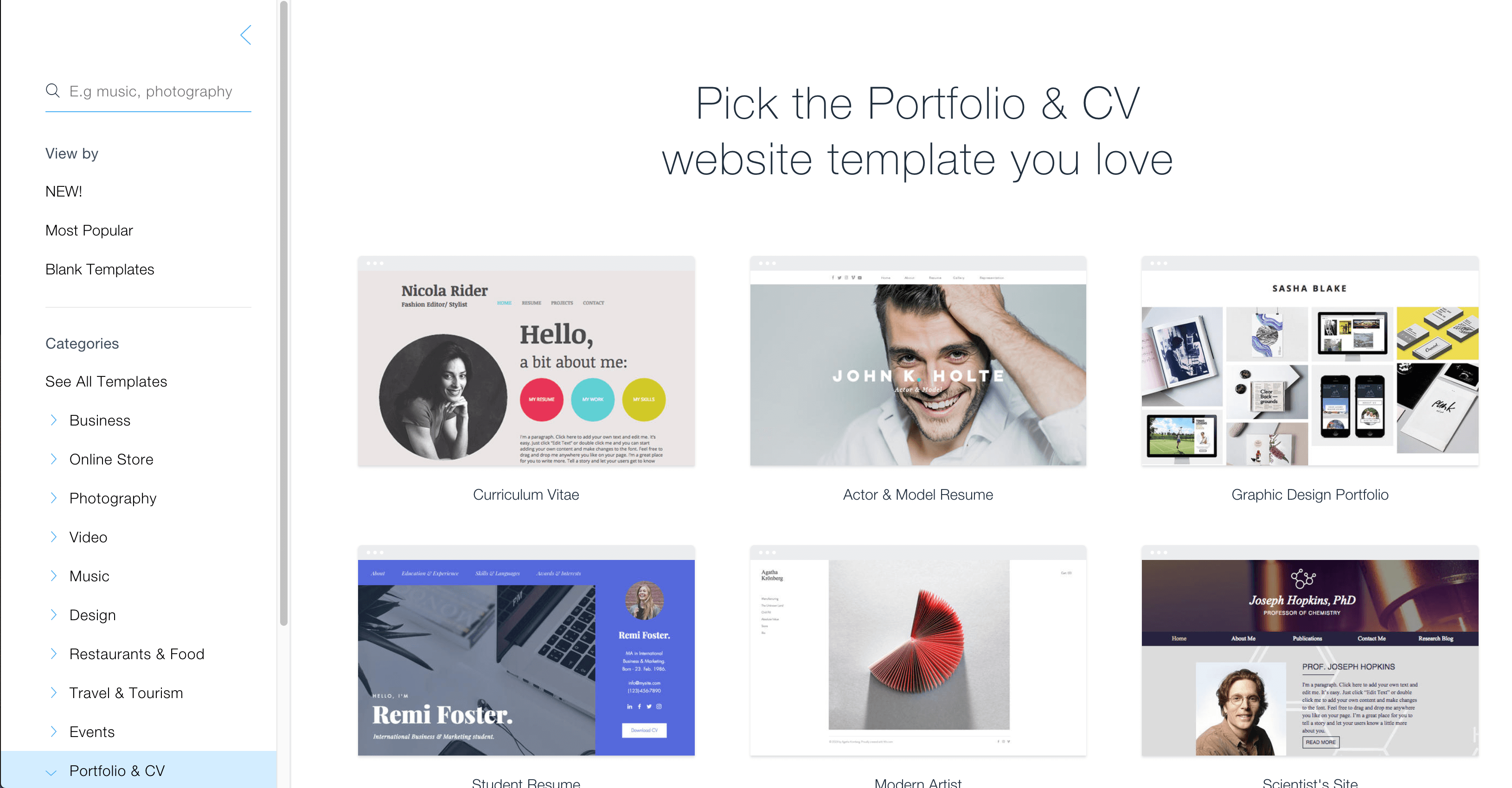 Available templates in Wix.