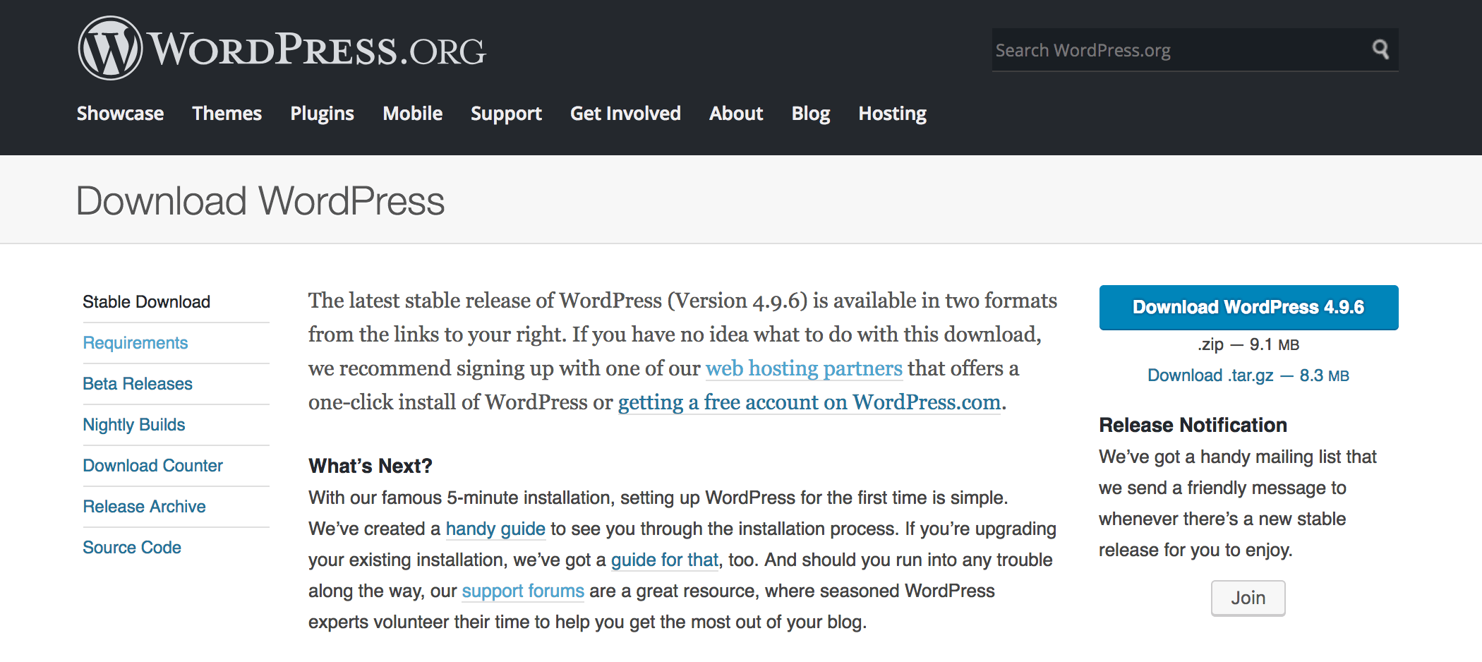 Downloading WordPress from the website.