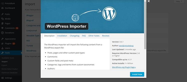 WordPress Importer Tool