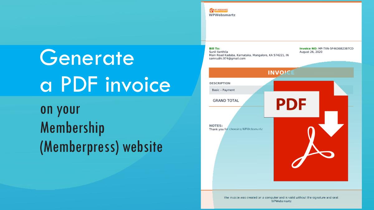 Generate a PDF invoice on your Membership (Memberpress) website