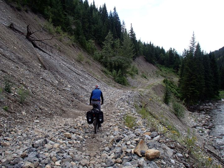 Cycling over semi-cleared rock slides