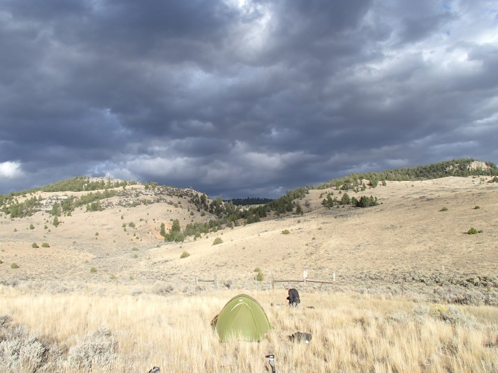 You can see the storm clouds building for another thunder storm over our camp