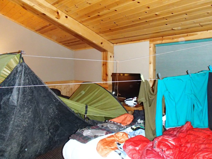 It really was the hotel's idea that we hang up our wet camping gear in the room!