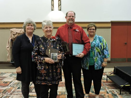 The Volunteer and Administrator of the Year winners! (L-R) Activity Professional Cindy Lotzer, Volunteer of the Year Sue Johnson, Administrator of the Year Cory Bell of Atrium Evergreen and his nominator, Activity Professional Debbie Buss