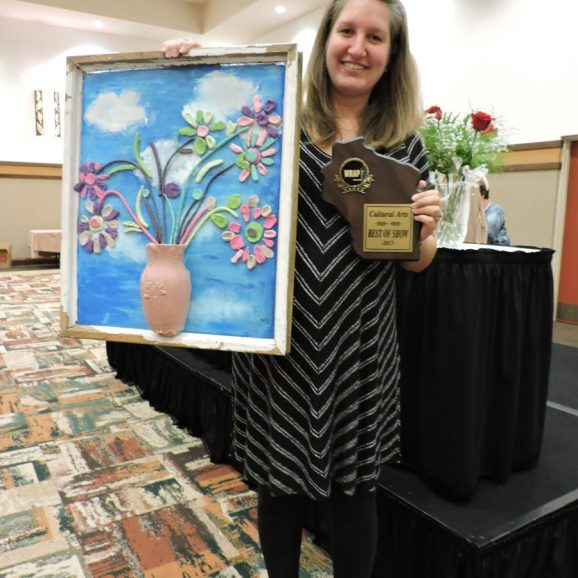 """The """"Art Club"""" from Pine Crest NH with project entitled """" Recycle"""" with WRAP Member Brianna Vandenheuvel"""