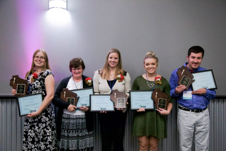 (L to R):Activity Assistant of the Year Amy Martin, Activity Professional of the Year Patricia Durham, Administrator of the Year Ashley Lieck, Beyond Care Giving Award Winner Kayla Rubenzer and Volunteer of the Year Taylor McFarland