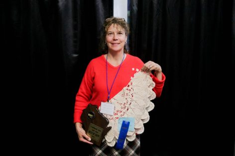 Mary Lou Pientok of Dove Health Care Rutledge home won Best of Show for her crochet piece entered by Activity Professional Linda Soden