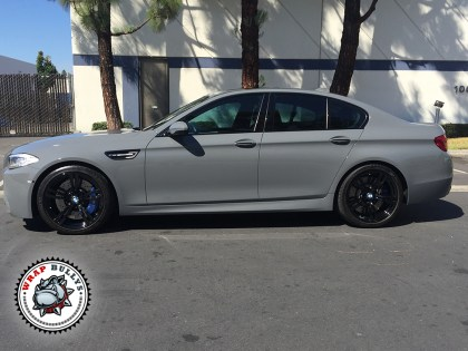 BMW M5 Wrapped in Gloss Battleship Gray Car Wrap