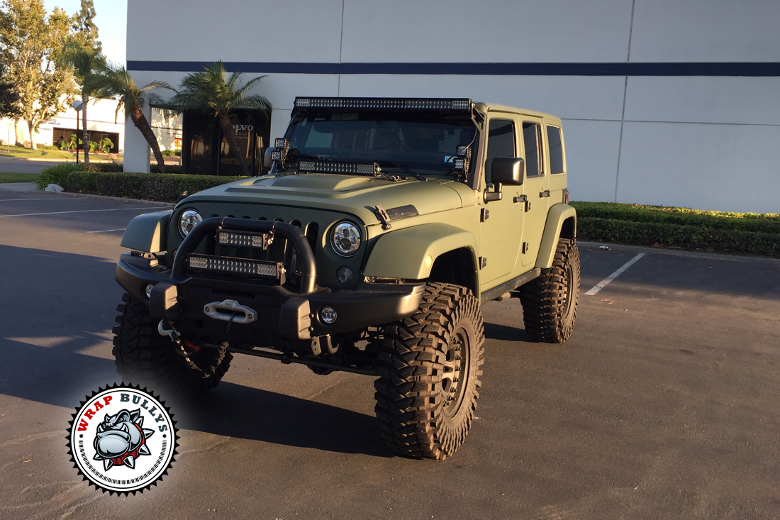 Jeep wrapped in 3M Matte Army Green | Wrap Bullys