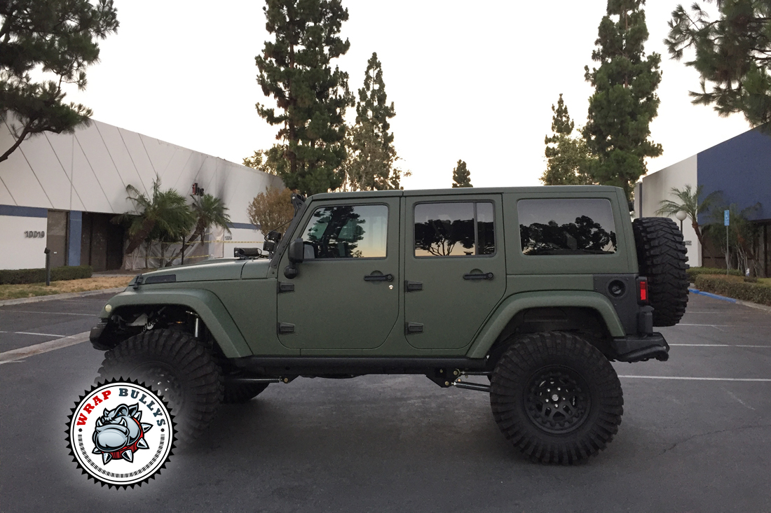 Jeep Wrapped In 3m Matte Army Green Wrap Bullys