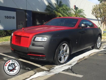 Rolls Royce Wrapped in 3M Matte Black with Chrome Red