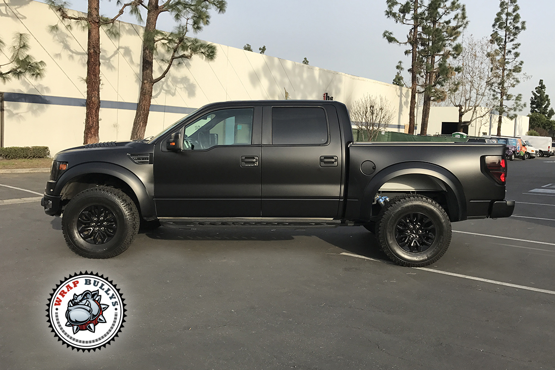 Satin Black Ford Raptor Wrap | Wrap Bullys