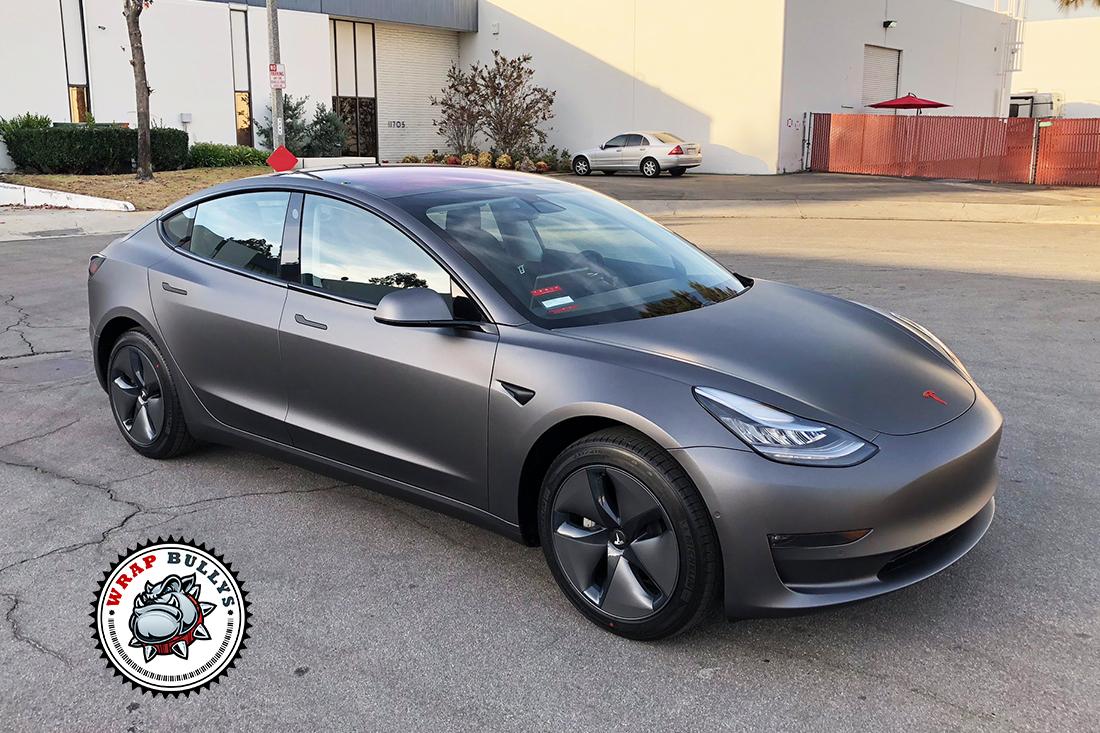 Tesla 3 Wrapped in 3M Matte Dark Grey | Wrap Bullys