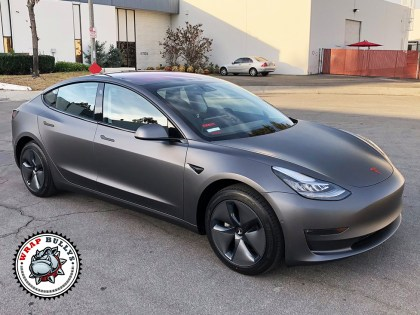 3M Matte Dark Grey Tesla Model 3 Car Wrap