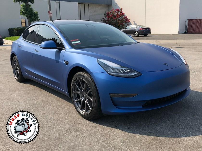 Tesla 3 Wrapped in Avery Matte Blue