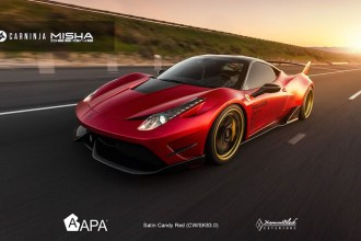 misha satin candy red Ferrari 458 Wrap