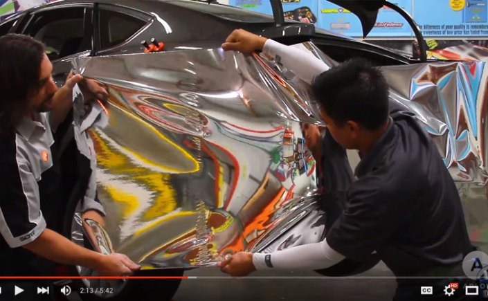 Wrapping a bumper in chrome wrap film