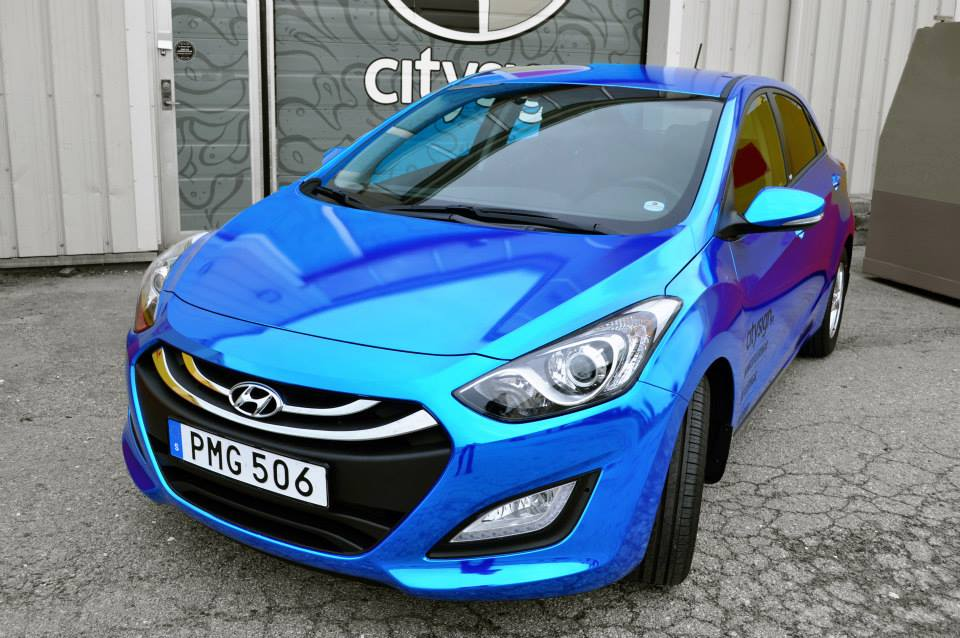 Blue Chrome Elantra Wrap