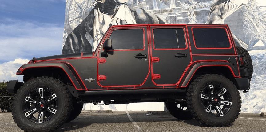 Tron style Jeep Wrangler wrap | Wrapfolio