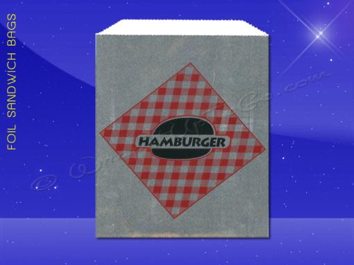 Foil Jumbo Sandwich Bags – 6-1/2 x 1-1/2 x 7-3/4 – Printed Hamburger 1