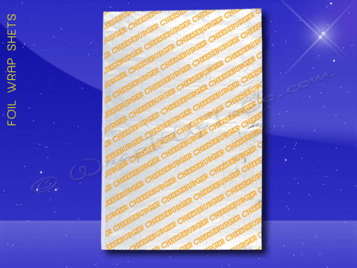 Foil Wrap Sheets – 10-1/2 x 14 – Printed Cheeseburger 1