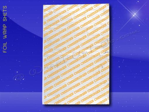 Foil Wrap Sheets – 10-1/2 x 14 – Printed Cheeseburger 1