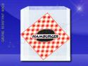 Grease Resistant Sandwich Bags – 6 x 3/4 x 6-1/'2 – Printed Hamburger 1