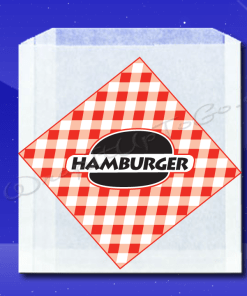 Grease Resistant Sandwich Bags – 6 x 3/4 x 6-1/'2 – Printed Hamburger 1