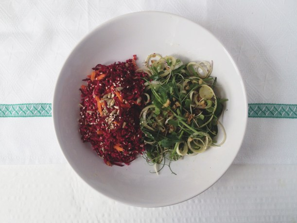 Beetroot couscous and peashoot salad