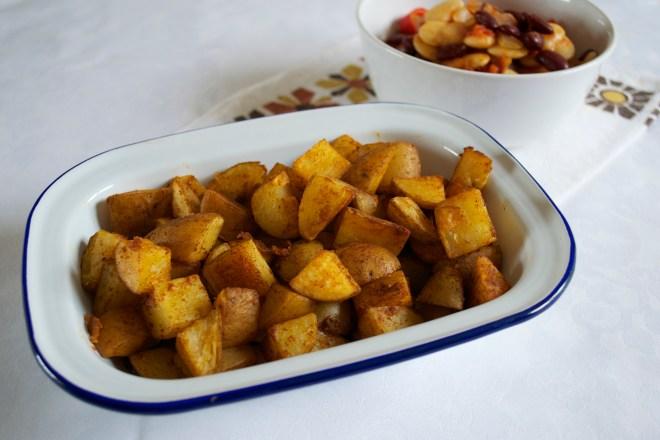 Spanish bean stew and patatas bravas